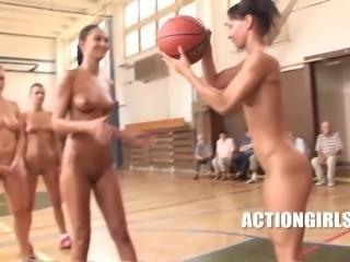 Hot naked girls play basketball