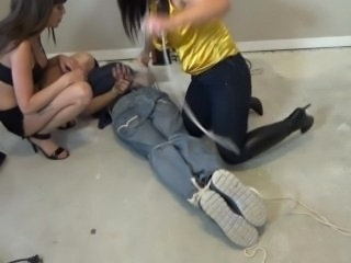 guy tied up and gagged by 2 girls