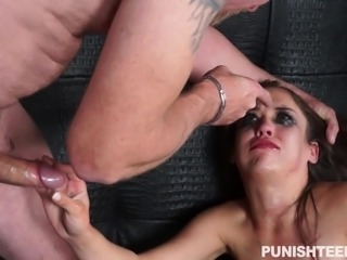 We don't know what she did that was so wrong, but she is being punished for it. Ziggy gets a cock rudely crammed down her throat. She also gets it thrust roughly in her pussy repeatedly, being gagged, to keep the noise down.