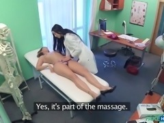 These two horny nurses were licking each other's lesbian cunts, when head...