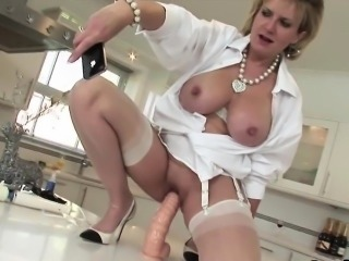 Adulterous english milf lady sonia flashes her big tits