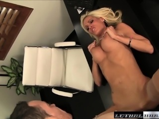 Lustful blonde secretary with big hooters has sex with her hung boss