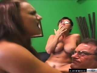 Horny business ladies getting fucked by their hung boss in the office