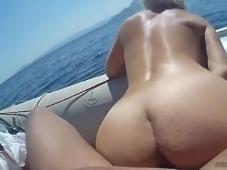 Boat sex with busty babe