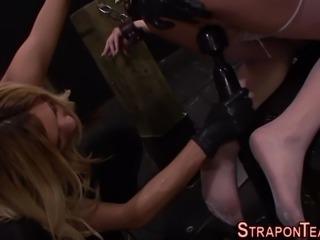 Mistress fuck ballgag lez