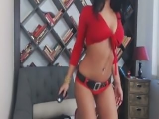sexy brunette teases on cam wearing red