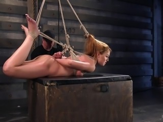 Cheyenne got strongly tied up with ropes, so any hope to escape vanishes...