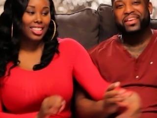 Black couple threesome with nasty ebony in the bedroom