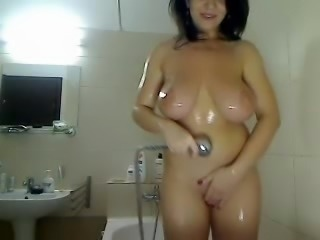 Amazing hot body and big tits getting clean