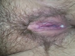 Shoving green pipe in fat hairy wifes dirty pussy and ass