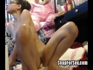 oiled teen from SnapForSex rides big dildo