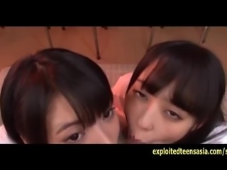 Two Jav Schoolgirls Do Deep Throat BJ And Cum Swallowing Plus Bukkake