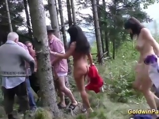 wild outdoor groupsex bukkake orgy