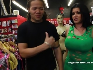 BIG TITTED ANGELINA CASTRO FUCKS & SQUIRT IN A SEX STORE!?