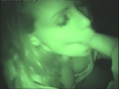 Blonde Isabelle is giving a blowjob in POV late at night in a car