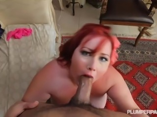 Redhead SSBBW Eliza Allure Swallows and Fucks Huge Cock