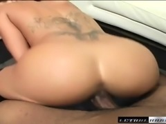 Fiery redhead with big breasts passionately fucks a black pole in POV