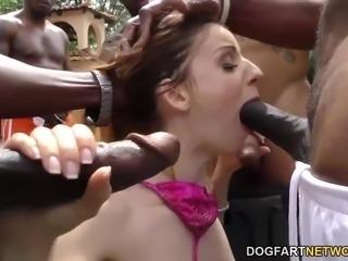 Stella Cox sucks black cocks and gets facial