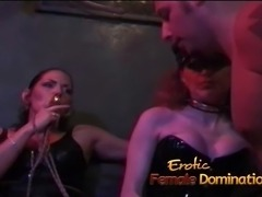 Dominant babes join forces to dominate a help