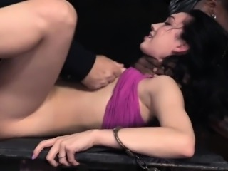 Bonded submissive facefucked in dungeon