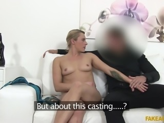 She will only get a role in the agent's latest film, if she can show, she knows how to fuck. The eurobabe gets nude and shows off her boobs, before slurping eagerly on the agent's rock hard penis. Looks like she got the part.