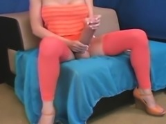 Flirty girls shag the biggest strap dildos and spray sperm e