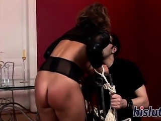 Raunchy bitch has her body covered in wax