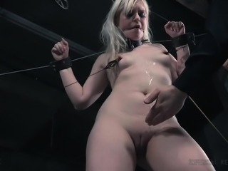 Rivers of tears on her cheeks, tells us about hard times, that she experiences. Blonde tender Dresden, was bonded in original metal device, with handcuffs and metal clamps on her tiny nipples. Male executer ripped her shorts and whipped her ass with the lash, while she experienced painful pleasures. Enjoy tough BDSM action!