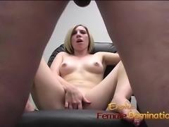 Blonde office slut dominates her future boss