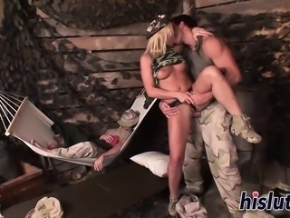 Two horny army guys fuck a hot bimbo