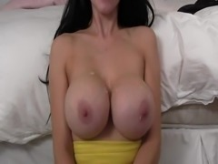 Fat uncut cock cums on big beautiful pair of tits