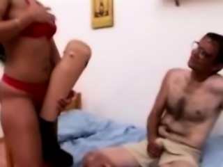 Horny amputee man smashes big boobed brunette hooker