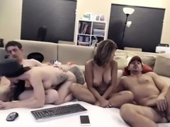 Foursome fucks around on their live cam and the girls get f