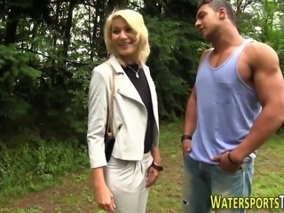 Fetish slut pissed on