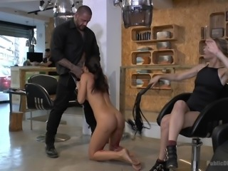 Carolina Abril wanted to be dominated, so she asked Mona to help her. Blonde mistress Mona Wales, fulfilled this mission perfectly, walking with the naked slave down the streets and making Carolina to suck a strange's big black dick, right in the middle of the beauty salon. Extreme domination session!