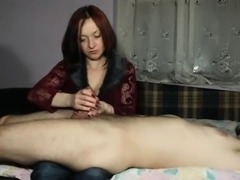 Charming wife puts her gifted hands to work on her partner'