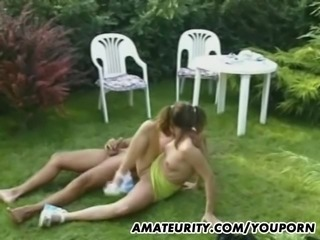Amateur teen girlfriend outdoor threesome action