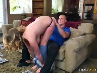 Brooke is everything a horny man wants. She's young, firm, busty and great at giving head. He finally lets her tits go long enough, to let her get undressed and put her mouth around his stiff cock, and suck it.