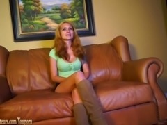 Amateur with big boobs strips on casting couch