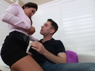 Elegant brunette MILF Francesca Le in black miniskirt and sexy blouse shows her big melons to a lucky guy then sucks his strong cock like theres no tomorrow. Francesca Le eats dick hungrily