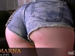 Hotness in tight denim shorts
