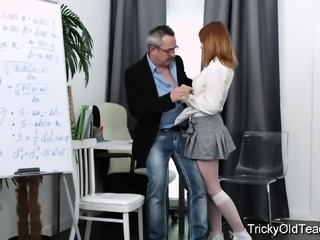 Tricky Old Teacher - Old teacher tricks Sweet Red into sex