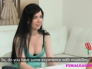 FemaleAgent Busty student has an amazing orgasm with lesbian