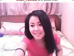Frisky Asian vixen gets naked to tease with her delicious c