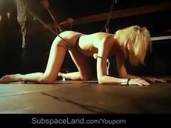 On her knees, punished bondage slave is begging for mercy