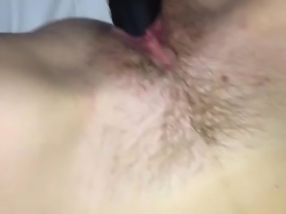 Hairy wife's new bbc dildo masturbation