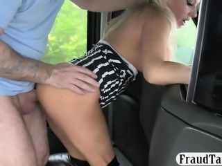 Big boobies amateur blonde passenger gets anal smashed