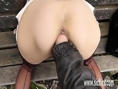 Fisting hot wifes pussy at a public park