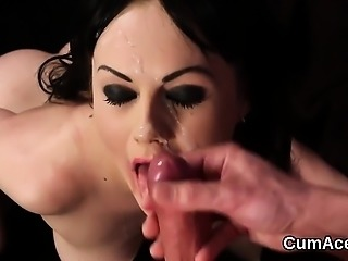 Naughty stunner gets sperm load on her face sucking all the