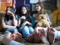 three girls tickle